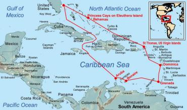 Route Map for the 2013 Caribbean Cruise