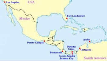 Route Map for the 2014 Panama Canal Cruise