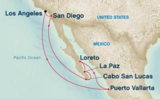 The 2016 map of the Spirit of the West Mexican Riviera Crusie
